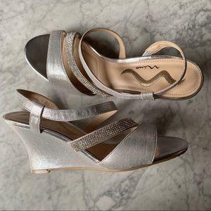 Silver Wedge Sandal Sz 8